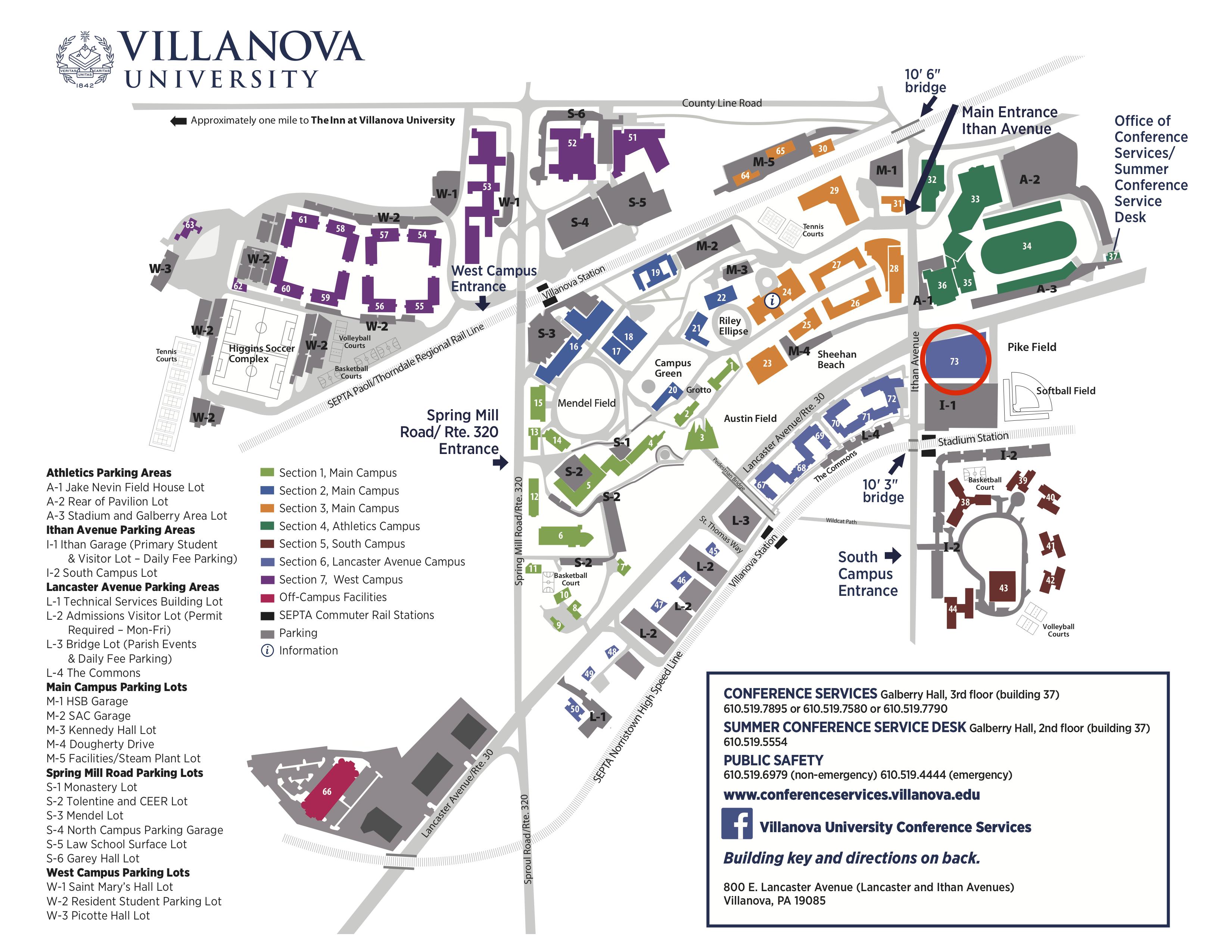 Villanova Campus Map - Performing Arts Center
