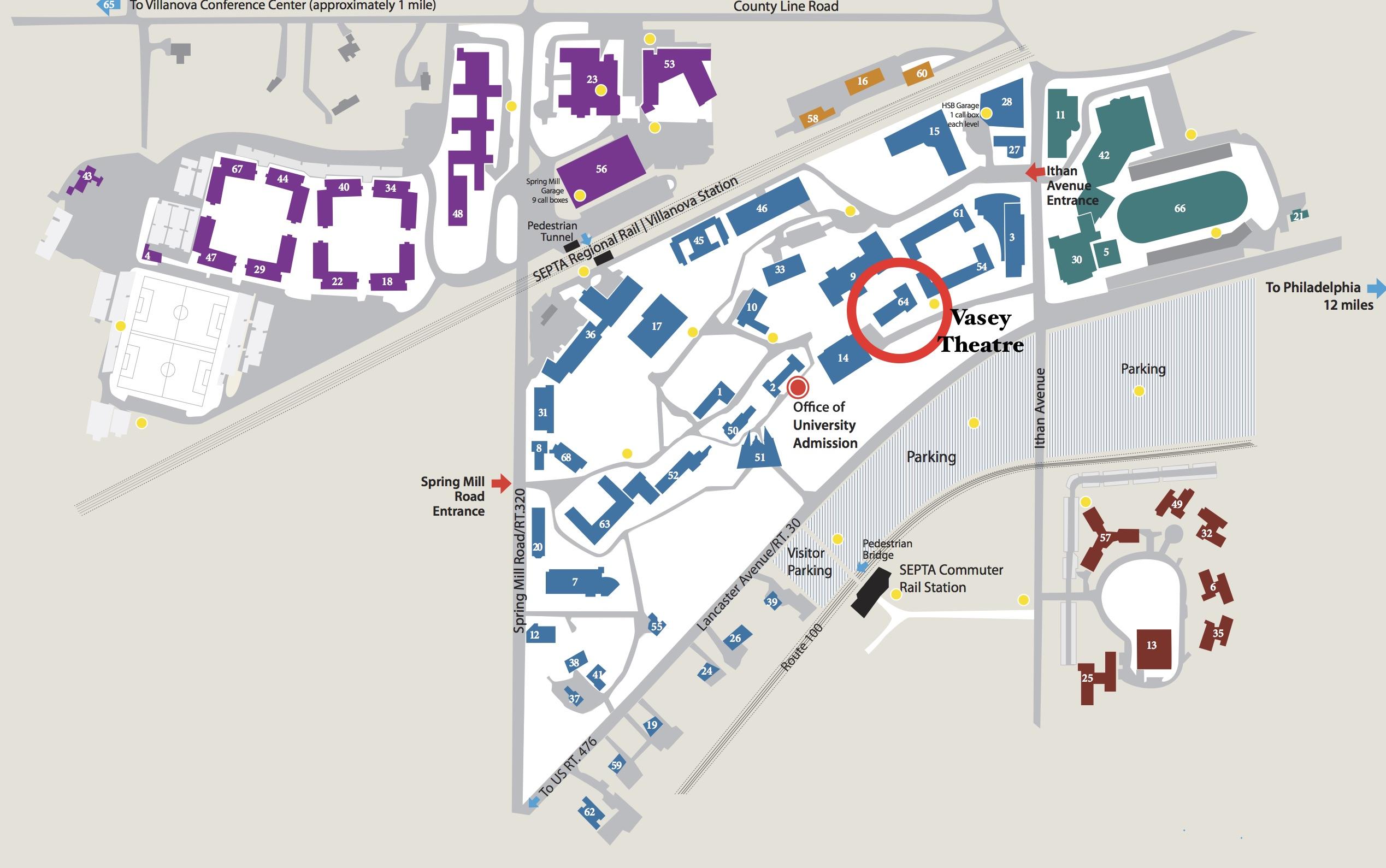 Villanova University Map Campus Map   Villanova Theatre Villanova University Map