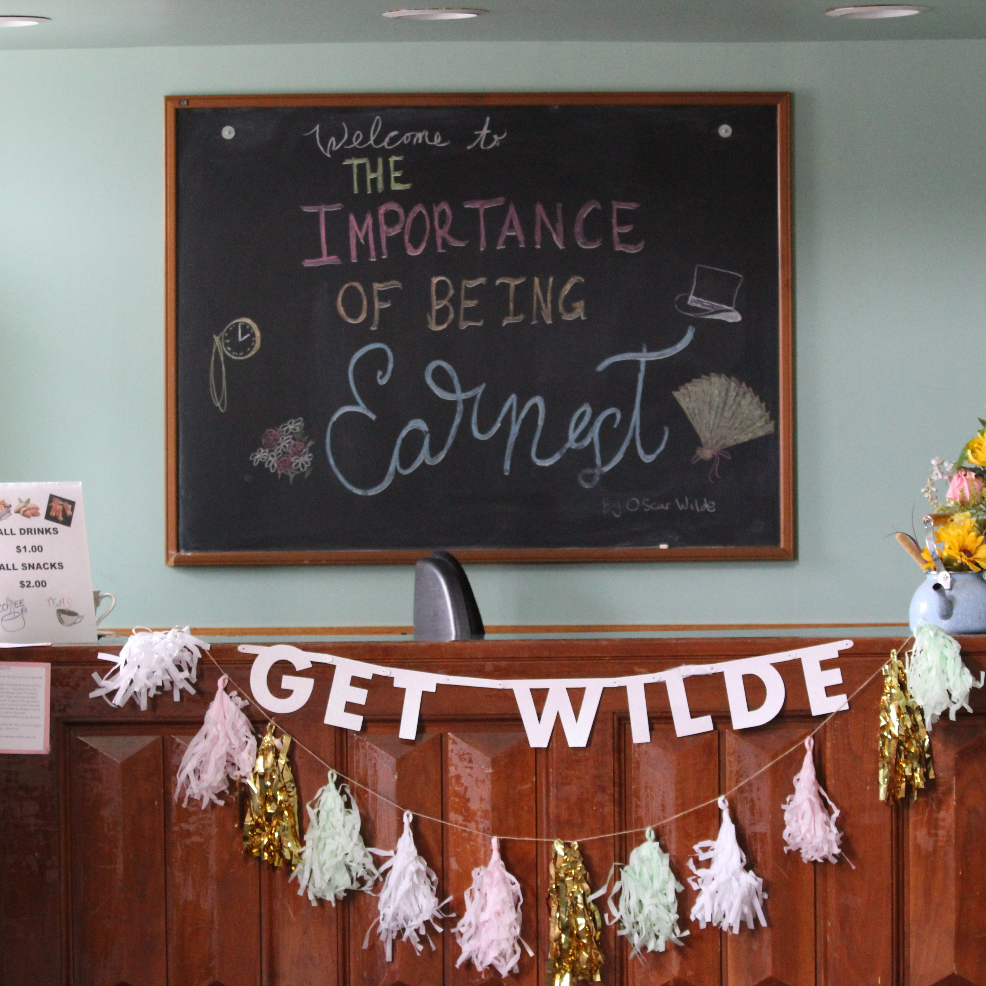 """Lobby Display for """"The Importance of Being Earnest"""" (2019) by Kristin Curley"""